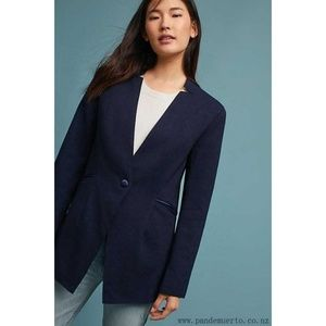 ANTHROPOLOGIE Cartonnier Navy Marennes silk Blazer